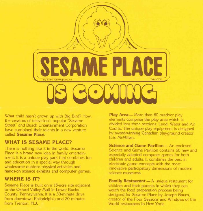 Flier announcing Sesame Place, copyright Sesame Place, Sesame Workshop.